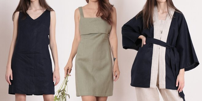 Dámské oblečení ze 100% lnu: šaty, kalhoty i kimono