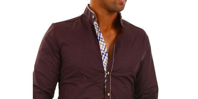 Pánská tmavě hnědá košile s kostkovanými detaily Carisma