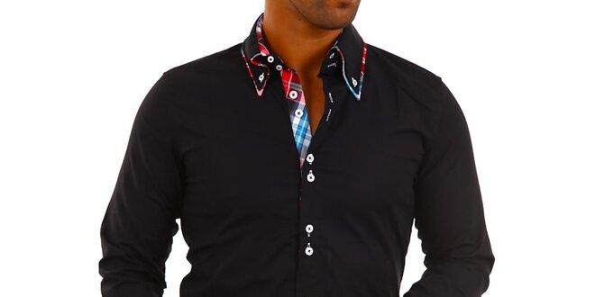 Pánská černá košile s límečkem a modro-bílo-červenou kostkou Carisma