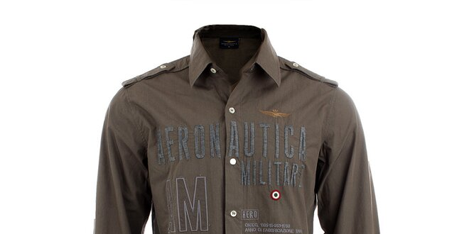 Pánská khaki košile s leteckými nášivkami Aeronautica Militare