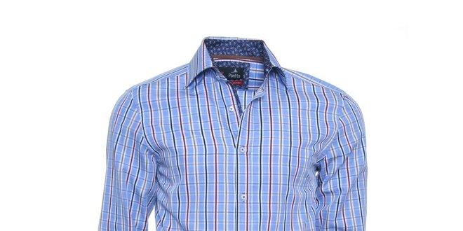 Pánská modrá kostkovaná košile Pontto s barevnými proužky  f892e0d772