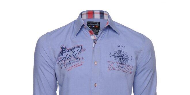 Pánská modrá košile s nášivkami Giorgio di Mare  b40e892073