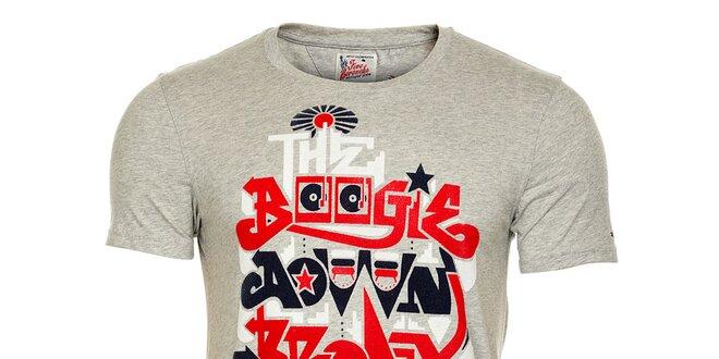 Pánské světle šedé melírované tričko Tommy Hilfiger s potiskem