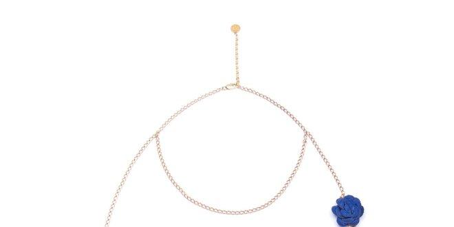 Dámský náhrdelník s modrou růžičkou Pietro Filipi