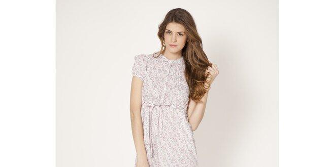 da08f3f11f1a Dámské fialové květinové šaty s límečkem Tantra