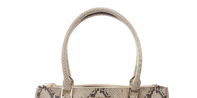Dámská světlá obdélníková kabelka s hadím vzorem DKNY
