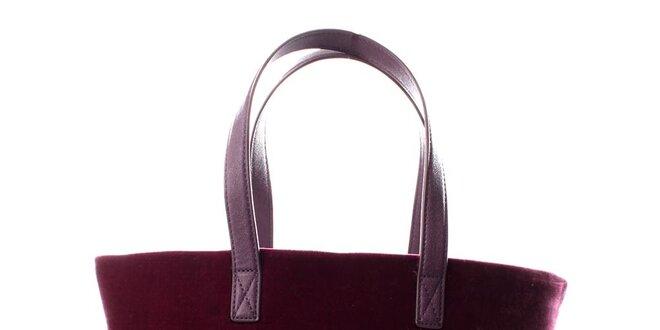 Dámská fialovo-vínová sametová kabelka s flitry DKNY