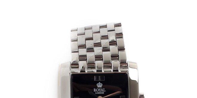 Dámské ocelové hodinky Royal London s čtvercovým černým ciferníkem