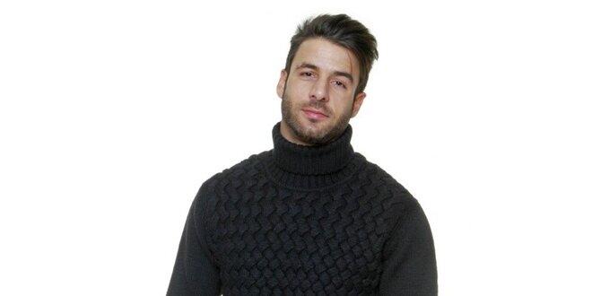 Pánský černý vyplétaný svetr s rolákem Karl Lagerfeld  e3187ab09f