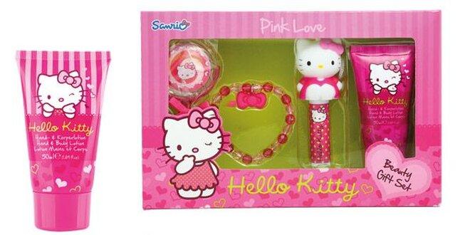 Hello Kitty dárková sada- tělové mléko 50 ml, Náramek, lesk na rty, Balzám na…