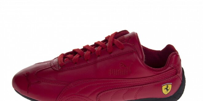 Červené kožené tenisky Puma Ferrari