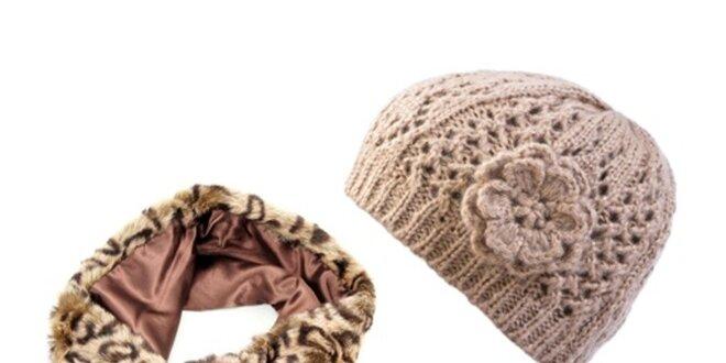 Dámský set potištěné kožešinky a béžové čepice Invuu