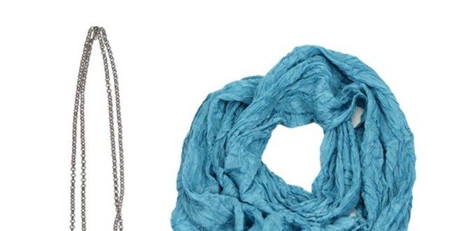 Dámský set tašky, náhrdelníku a modrého šátku Invuu