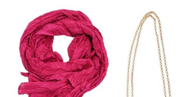 Dámský set tašky, náhrdelníku a růžového šátku Invuu