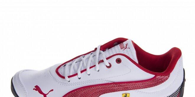 Bílé tenisky Puma Ferrari s červenými detaily