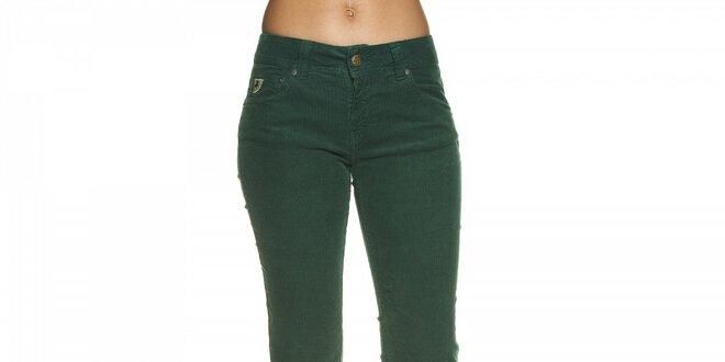 Dámské tmavě zelené manšestrové kalhoty Lois  9f432cca69