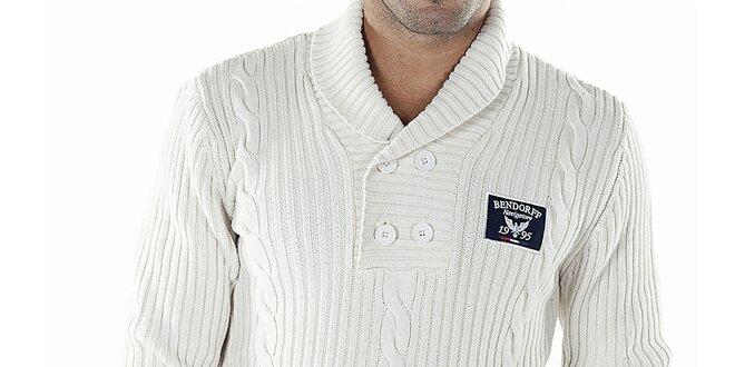 21900d25c52 Pánský bílý svetr s copánkovým vzorem Bendorff