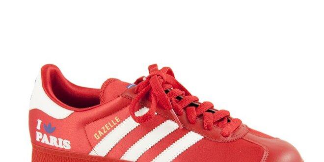 Dámské červené tenisky Adidas s bílými proužky  b3601c9391