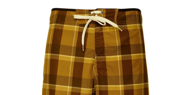 Pánské hnědé kostkované koupací šortky Fundango