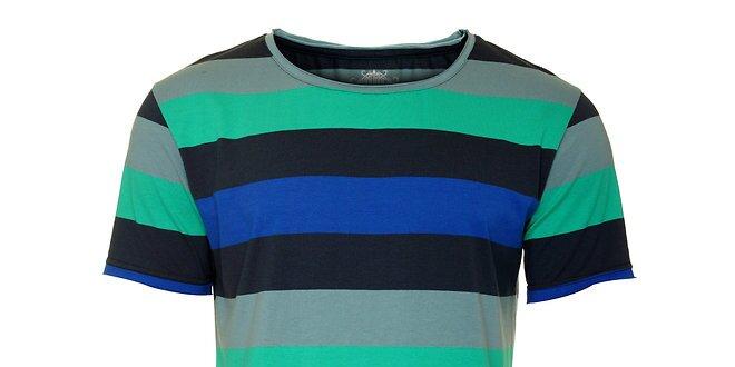 Pánské černo-šedé tričko Fundango s barevnými proužky