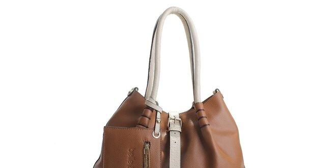 Dámská hnědá kožená kabelka Belle   Bloom s béžovými uchy  3561813d4d9