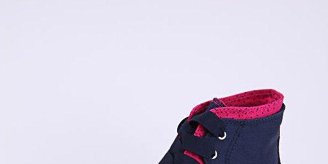 Dámské tmavě modré kotníkové tenisky s růžovými detaily