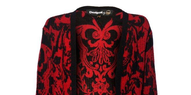 Dámský černý svetr Desigual s rudým vzorem