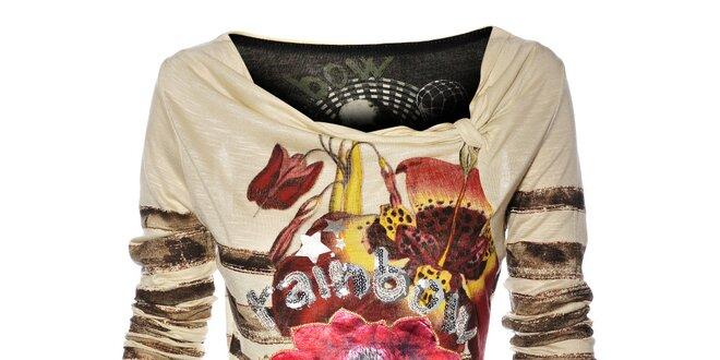 Dámské krémové tričko Desigual s barevným potiskem a flitry