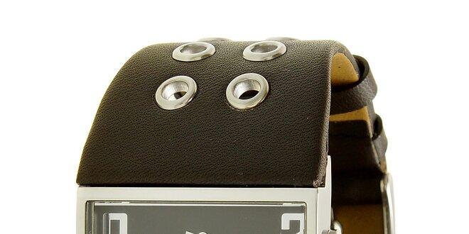 b0e083033a3 Dámské ocelové hodinky Mustang s hnědým širokým řemínkem