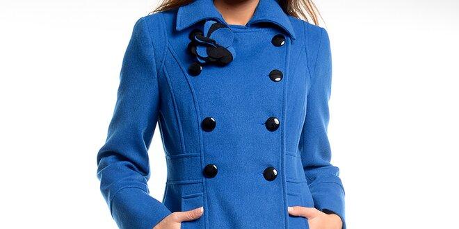Dámský modrý kabátek s květinou Estella  e630214a268