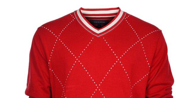 Pánský červený károvaný svetr Tommy Hilfiger