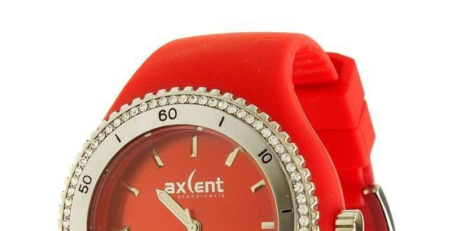 Dámské hodinky Axcent s červeným pryžovým řemínkem a kamínky