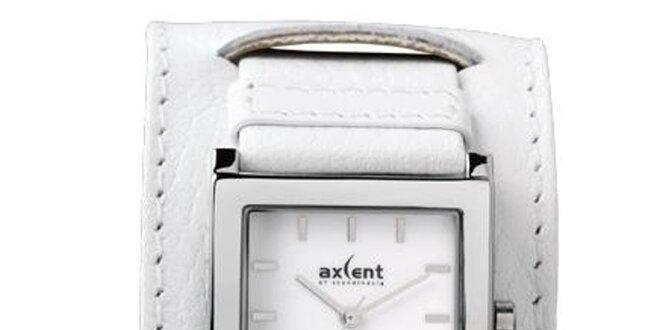 Dámské bílé ocelové hodinky s širokým řemínkem Axcent
