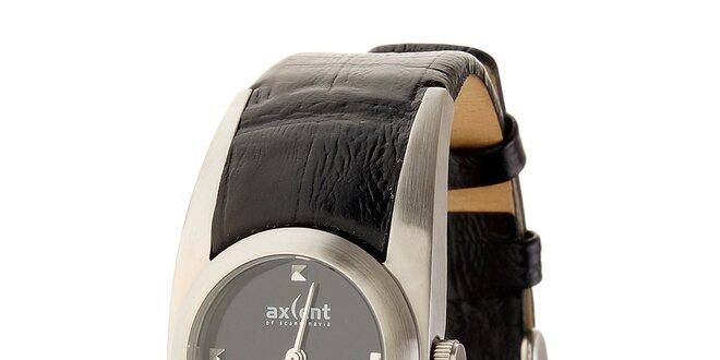 Dámské ocelové hodinky Axcent s černým koženým řemínkem