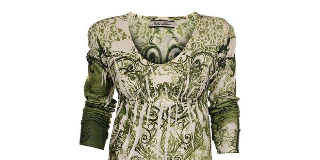Dámské zelené šaty Snake Milano s potiskem