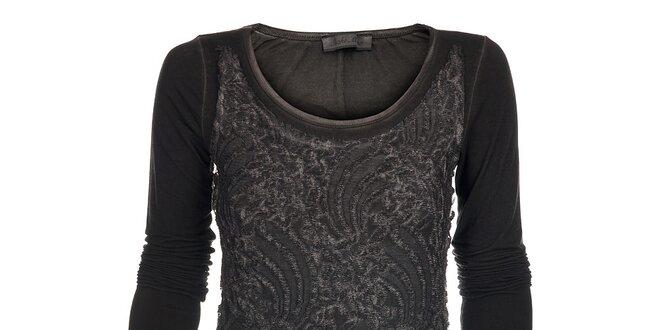 Dámské tmavě šedé šaty Snake Milano s výšivkou