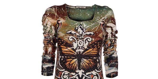 Dámské hnědo-zelené šaty Snake Milano s motýlem