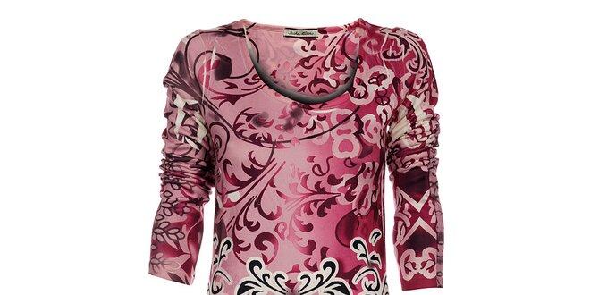 Dámské růžové šaty Snake Milano s potiskem a kamínky