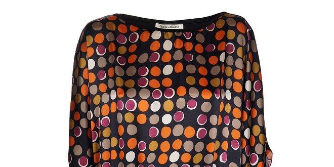 Dámský černý top Snake Milano s oranžovo-fialovým potiskem