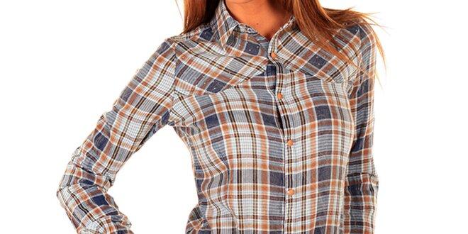Dámská dlouhá kostkovaná košile s kamínky New Caro  16192d77b6