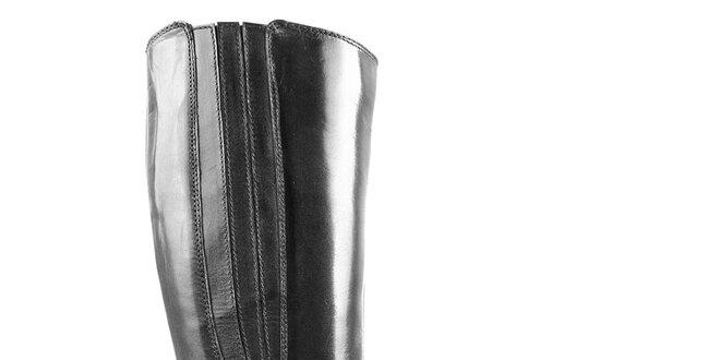 Dámské černé kožené kozačky Initiale Paris s přezkou kolem kotníku