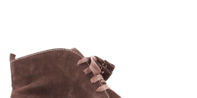 Dámské hnědé semišové kotníčkové boty Les Tropeziennes