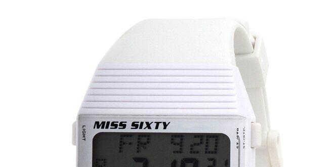 Dámské bílé digitální hodinky s černými detaily Miss Sixty