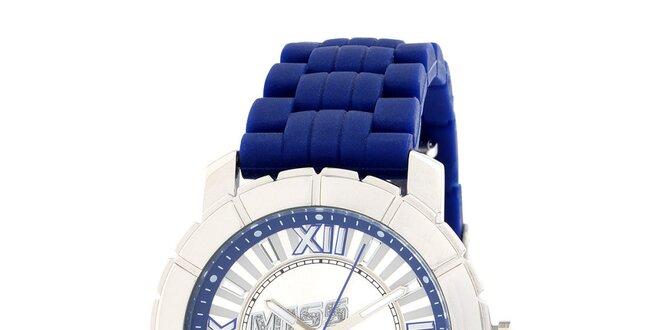 Dámské stříbrné hodinky s modrým řemínkem Miss Sixty