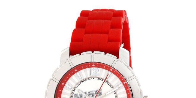 Dámské stříbrné hodinky s červeným řemínkem Miss Sixty