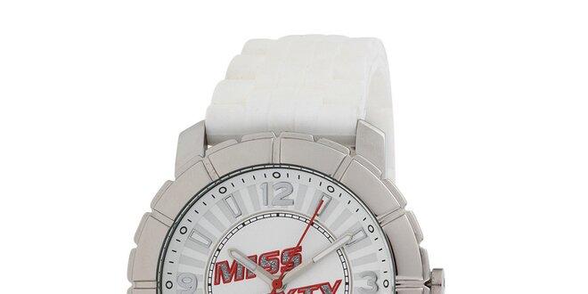 Dámské stříbrné hodinky s bílým řemínkem Miss Sixty