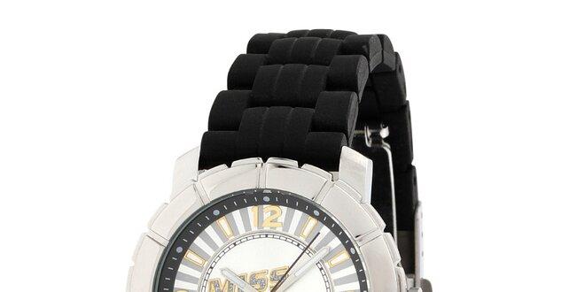 Dámské stříbrné hodinky s černým řemínkem Miss Sixty