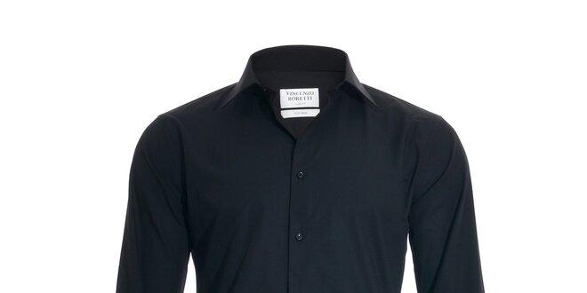 Pánská slim-fit košile na manžetové knoflíčky Vincenzo Boretti v černé barvě 54e7cf5585