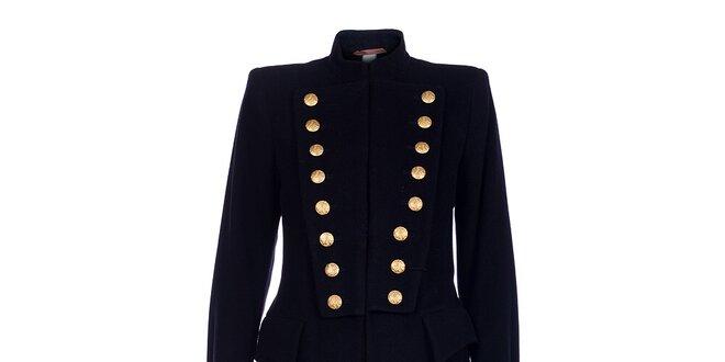 Dámský dlouhý černý kabát Pietro Filipi se zlatými knoflíky ... af6ba0e661