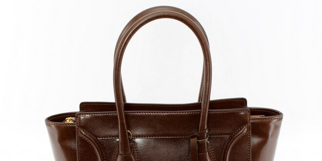 Dámská čokoládová kabelka se zlatými detaily Beverly Hills Polo Club